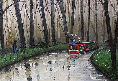 James Downie Original Oil Painting - Watching The Narrowboat Float By
