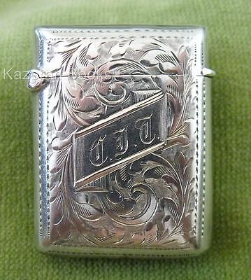 Antique Victorian Sterling Solid Silver Vesta Matchsafe Case 1899 Blanckensee
