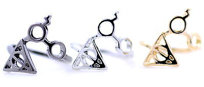Harry Potter lightning scar glasses deathly hallows triangle ring, multi colors