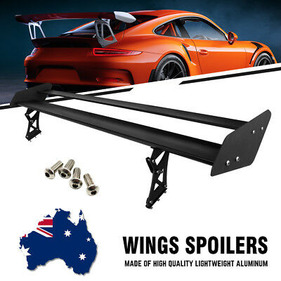 Black Adjustable Lightweight Aluminum Car GT Racing Rear Wing Spoiler Universal
