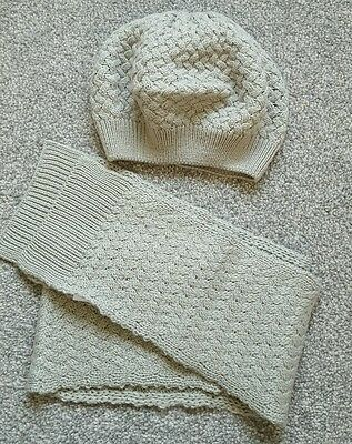 Mini Boden Girls Hat Scarf Set Grey Cable Knit Age 11-12 Beret Style. Brand new