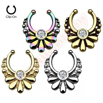 Flower Non Piercing Clip On Septum Nose Ring Hanger 316L Surgical Steel