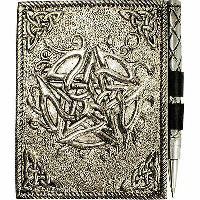 CELTIC PENTACLE WHITE SMALL METAL DIARY JOURNAL Wicca Witch Pagan Goth PENTAGRAM
