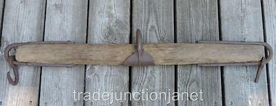 "Primitive 33"" Single Tree Yoke Horse Hitch - Wood, Hand Forged Cast Iron Metal"