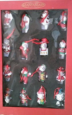 Dayton Hudson Santabear 15 Years of Christmas Ornaments Box Set of 16 1985-1999