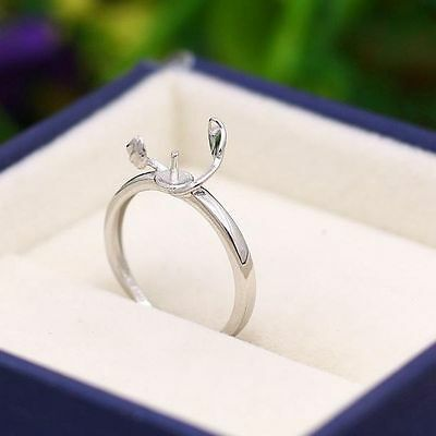 8-10mm Pearl Semi Mount Engagement Wedding Ring 925 Sterling Silver Women