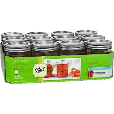 Half Pint Regular Mouth Glass Airtight Canning Jars (Set of 12)