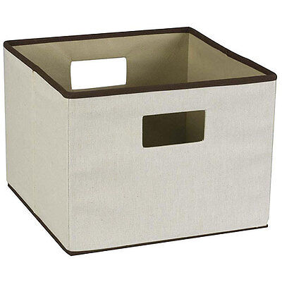 Canvas Open Storage Bin with Brown Trim and Handles