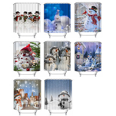 Merry Christmas Snowman Waterproof Bathroom Fabric Shower Curtain With 12 Hooks