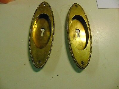 2 Vintage Oval Brass Recessed Pocket Door pulls Sargent & co 724 BC