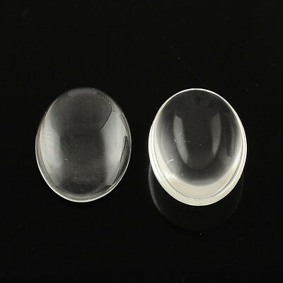 20PCS Transparent Oval Glass Cabochons Clear Jewelry Diy Findings 14x10x3mm