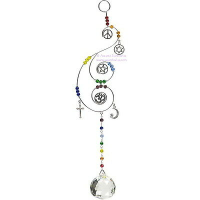 MULTIFAITH WIRE HANGING CRYSTAL Wicca Witch Pagan Goth SUNCATCHER