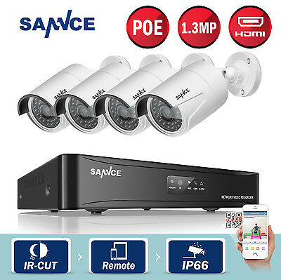 SANNCE 960P PoE 4CH Network NVR 2000TVL Video IR Home Security Camera System IP