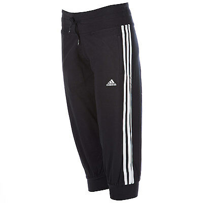 Womens adidas Womens Essentials 3S 3 Quarter Pants in Black-White - 6