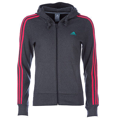 Womens adidas Womens Essentials 3-Stripes Hooded Jacket in Charcoal Marl - 8