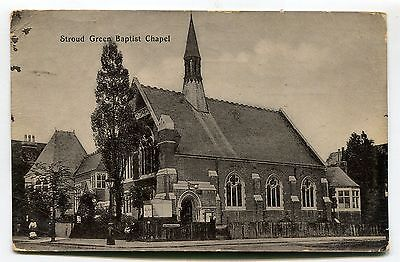 Stroud Green Baptist Chapel - with spire (now missing) - 1905 used postcard