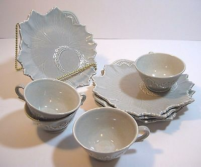 Set Of 4 Woodfield Steubenville Dove Gray Leaf Snack Plates & Cups c: 1950's