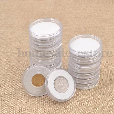 20pcs 46mm Applied Clear Round Cases Coin Plastic Storage Capsules Holder Round