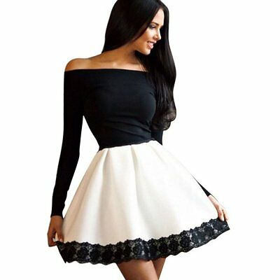Sexy Women's Long Sleeve Bandage Bodycon Lace Evening Party Cocktail Short Dress