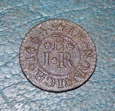 Rare 1664 Token James Brockden On One Side B.i.r In Norwich On Other Vgc