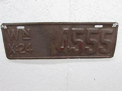 1924 Washington State License Plate 4555 Rusty Rat Rod 24 Wa