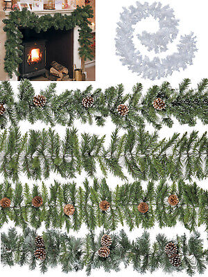 Christmas Garland Traditional Snow Tipped 2.7m Decoration Green Fir Pine Cones