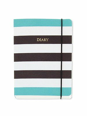 A6 Day to a Page Diary Planner With Band 2017 - Monochrome Stripes Design
