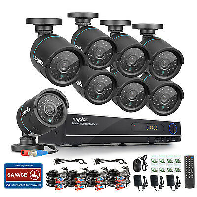 SANNCE 8CH DVR AHD Video Home Surveillance 8pcs Security Cameras Kit Easy DIY IR