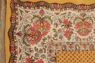 Antique French Fichu Neckerchief c 1820 block printed scarf