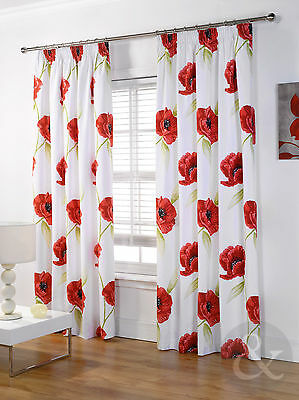 Cream & Red Poppies Curtain - Pencil Pleat Lined Ready Made Floral Curtain Pair