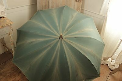 Shepherd's umbrella Antique French parasol Indigo blue vintage textile old