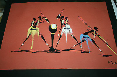 Vintage Hand Painted African Painting Tribal Art Unframed Zulu Warriors Picture