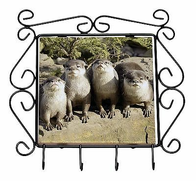 Cute Otters Wrought Iron Key Holder Hooks Christmas Gift, AO-6KH