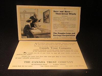 People's Loan & Savings Blotter & Prescription on Canada Trust Co London Ont Ad