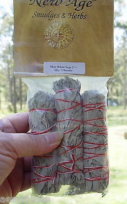SMUDGE STICK: 3-PACK WHITE SAGE Wicca Witch Reiki Pagan Goth Spiritual Purify