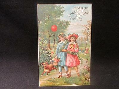Woolson Spice Co Midsummer Greeting Lion King of Coffees Victorian Trade Card