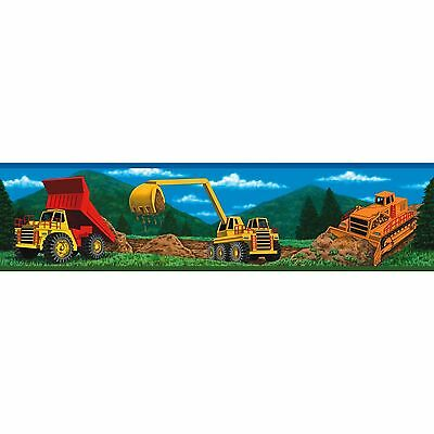 CONSTRUCTION Wallpaper Room Decor Wall Border Work Trucks Removable Stickers NEW