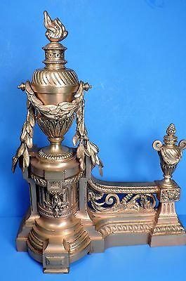 ANTIQUE French BRONZE CHENET ANDIRONS Louis XVI GILT