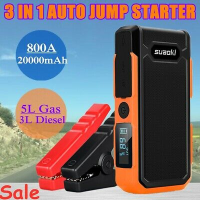 20000mAh 800A Portable Car Jump Starter Booster Battery Charger Power Bank Pack