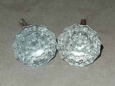 "ANTIQUE VINTAGE 12 POINT GLASS & BRASS DOOR KNOB SET  2"" DIAMETER w/ ROD"