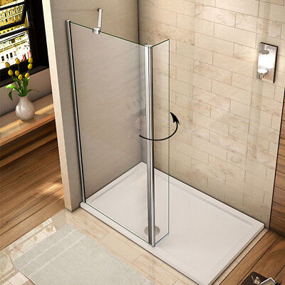 Walk In Wet Room Shower Enclosure and Tray Flipper Screen Panel 8mm NANO Glass