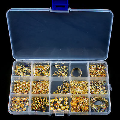Gold Plated Jewellery Making Starter Kits Beads Pliers Chain Cord Tools +Box Set
