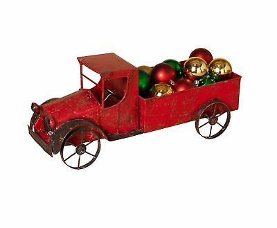 """18.5""""  Antique Look Red Metal Work Holiday Christmas Tree Truck Decoration"""
