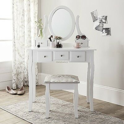 Dressing Table Make Up White Wooden Shabby Chic Style Stool Mirror Drawers