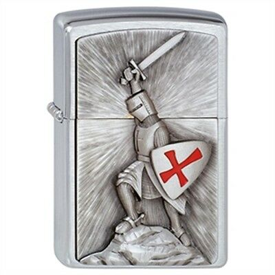 Brushed Chrome Victory Crusade Zippo Lighter - Smokers Gift Present Accessory