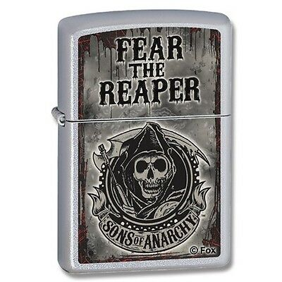 Satin Chrome Sons Of Anarchy Fear The Reaper Zippo Lighter - - Gift Accessory