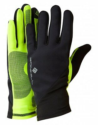Ronhill Outdoor Wear Sirocco Gloves Running Windproof  Black/Fluo Yellow *SALE*