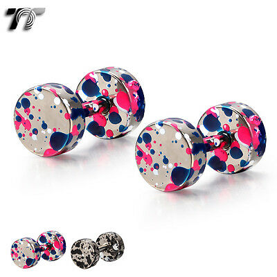 TT 6mm Surgical Steel Round Fake Ear Plug Earrings (BE138) NEW