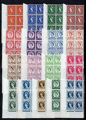 GB WILDING STAMP Collection 17v  CROWNS CYL BLOCKS of 6 Unmounted Mint REF:QD302