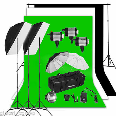 900W Photo Studio Flash Lighting Kit +Professional Backdrop Background Stand Set